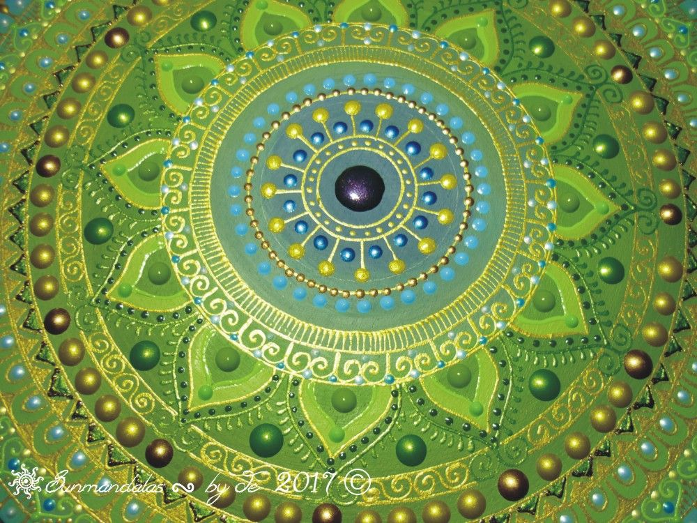 Blue Green Mandala With Ancient Sun Symbol Sunmandalas By Je 2017