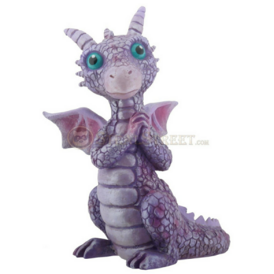 Purple and Pink Baby Dragon. ww.teeliesfairygarden.com . . . The fairies are baking cookies and this purple and pink baby dragon smelled the delicious cookies! Will the fairies give him some? #dragons