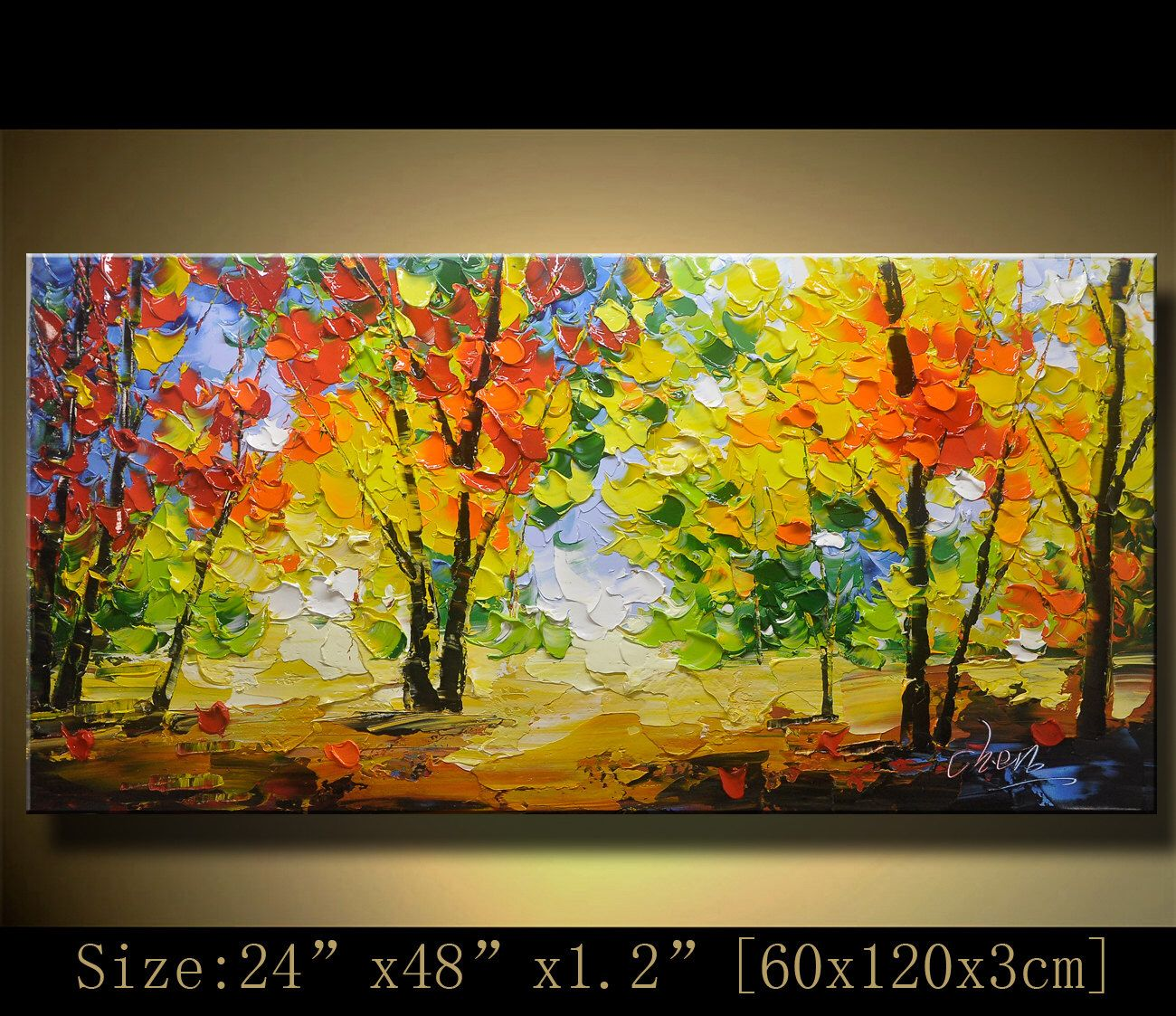 acrylic Painting Palette Knife Painting,colorful tree wall decor ...