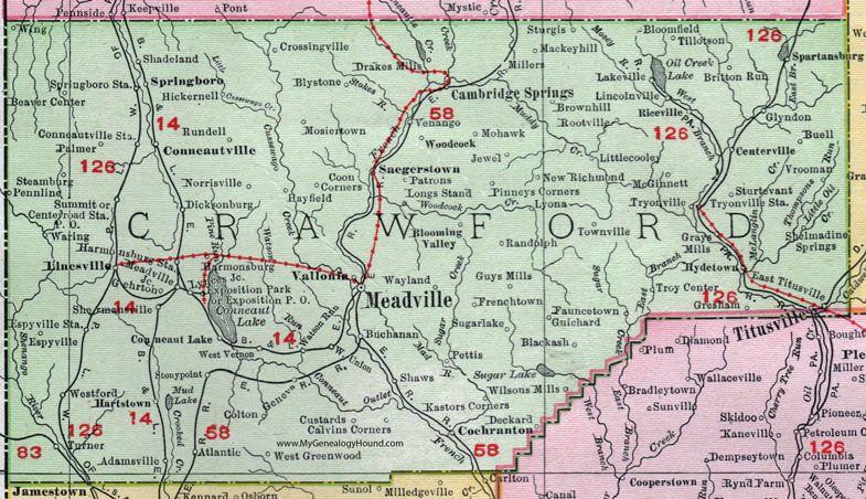 Crawford County Pennsylvania 1911 Map Meadville Titusville Spartansburg Cambridge Springs Linesville Conneautville Ven Crawford County Map County Map