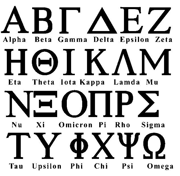 Greek Alphabet Fraternity Sorority Font Set of 72 gas0001