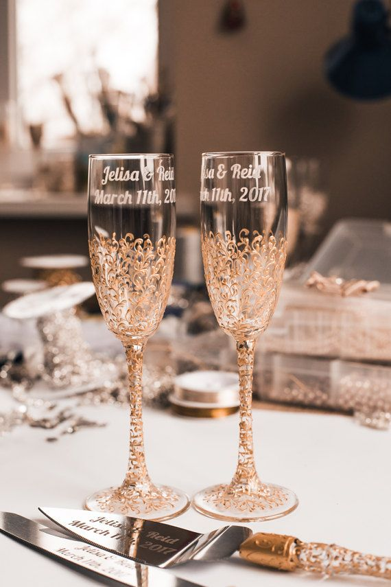 Personalized Wedding Gles Toasting Flutes Gold