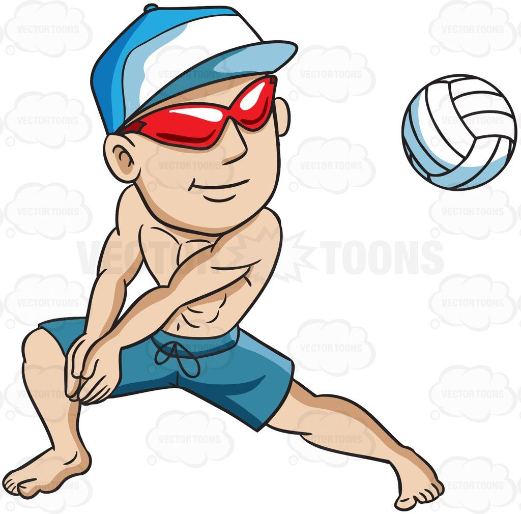 A Man Enjoying A Game Of Beach Volleyball Vector Graphics Vectortoons Com Beach Volleyball Cartoon Volleyball Volleyball