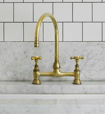 bridge faucets kitchen green appliances barber wilsons silver gold gooseneck faucet remodelista via atticmag