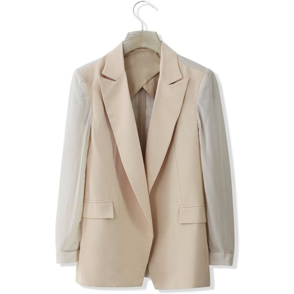 Chicwish Chiffon Blazer with Sheer Panels in Nude (€48) ❤ liked on Polyvore