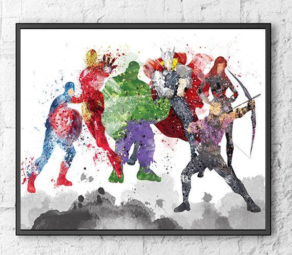 Avengers Watercolor: Avengers Watercolor Print, Movie Poster, Wall Art Print