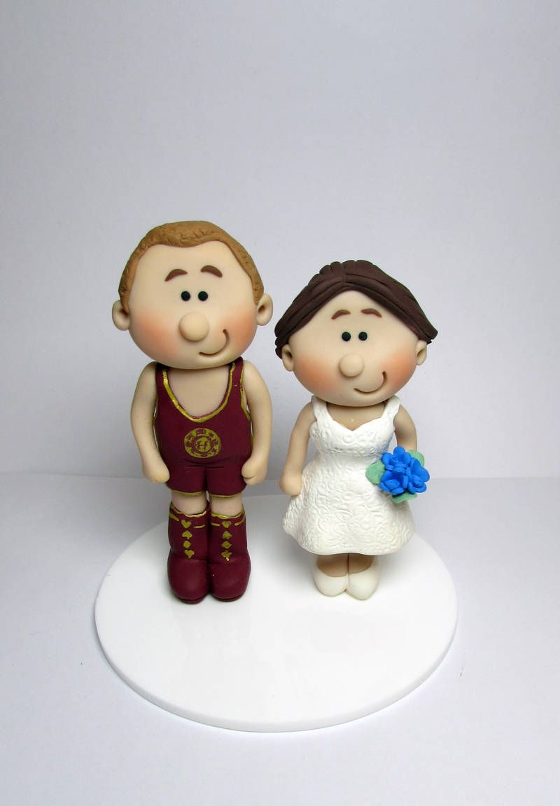 Wrestling Themed Bride And Groom Wedding Cake Topper, Personalised ...