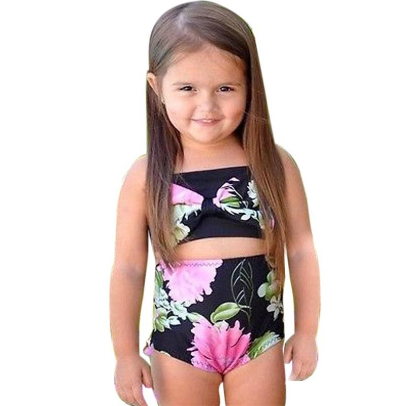 4f3cd0dd74919 Black Flower print Baby Child Bikini Set Swimwear Bathing Suit Tankini  Clothes beach vocation Toddler little
