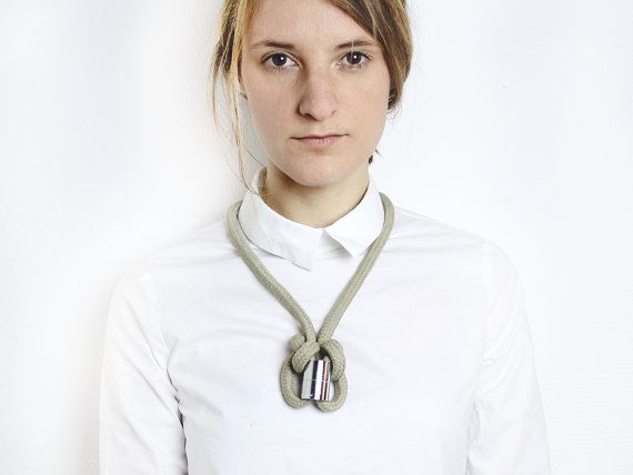 Mesh necklace in khaki with chrome tube by ChezKristel on Etsy, €33.00