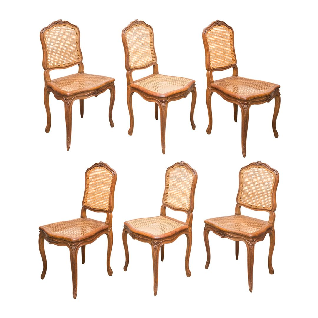 Set Of Six French Antique Walnut Cane Dining Chairs In Louis XV Style