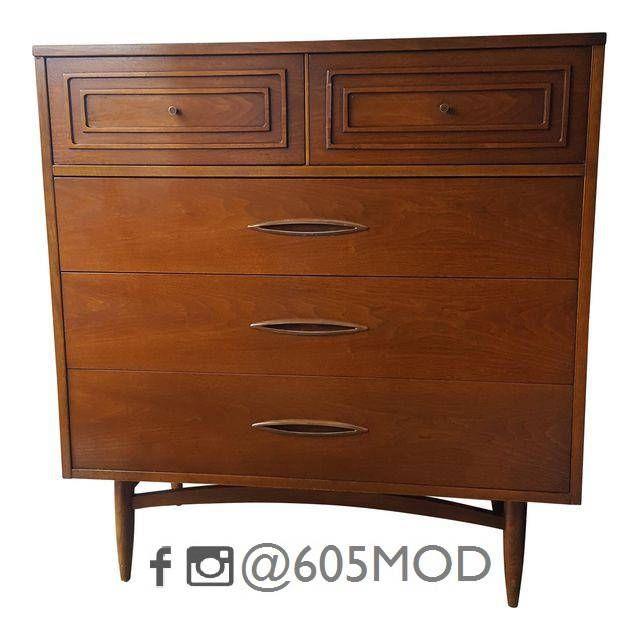 Vintage Mid-Century Broyhill Furniture Sculptra Tall Boy Dresser - 5 ...