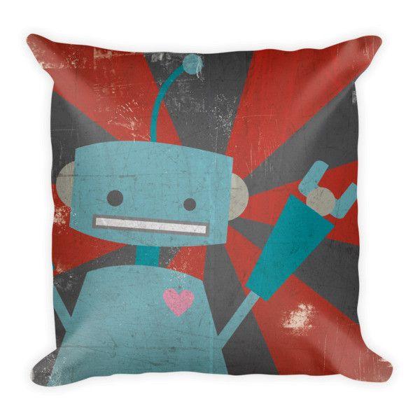 Blue Robot Pillow   Kissen