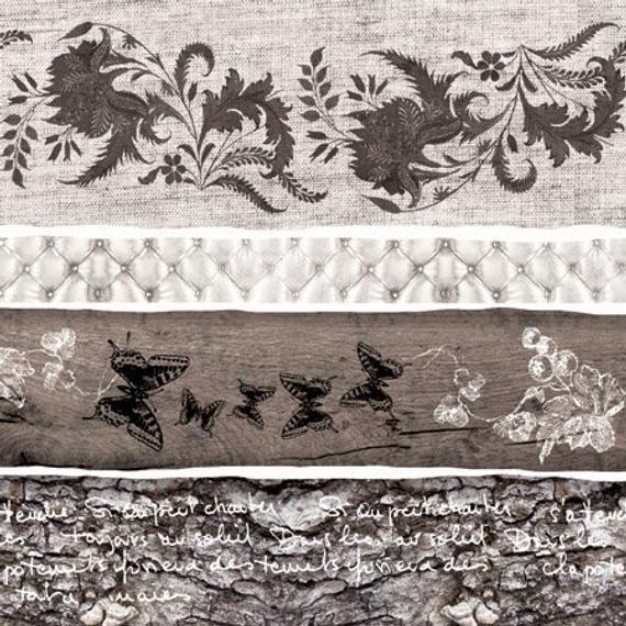 4 Paper Napkins For Decoupage   4 Decoupage Napkins   Shadow Flowers    Napkin for Decoupage   Paper #papernapkins