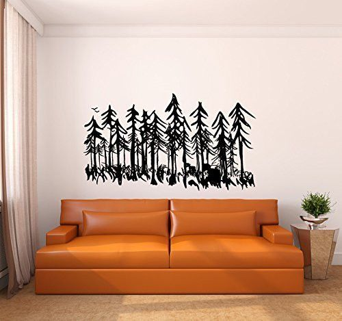 Pine Evergreen Tree Forest Vinyl Wall Decal Sticker Evergreen - Vinyl wall decals application instructions