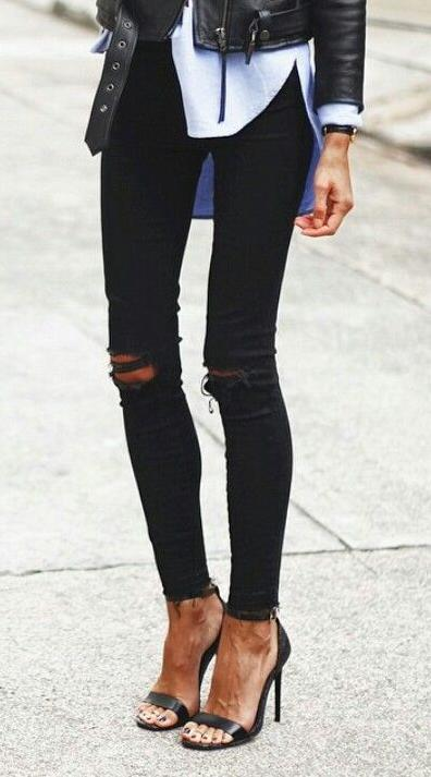 3caf9d34695f black ripped jeans. sandals. leather jacket.