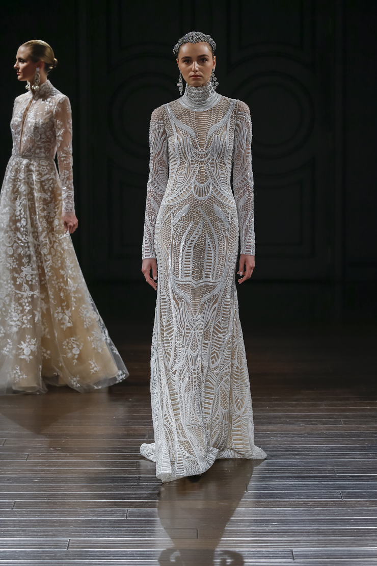 Naeem Khan Wedding Dresses Spring 2017 | Honeycomb embroidered high neck long sleeve gown with key hole back | itakeyou.co.uk #wedding #weddingdress #weddingdresses #weddinggown #bridalgown