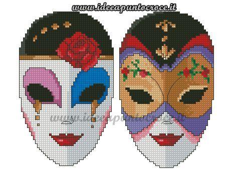 mascares carnaval   Punto de cruz, Graficos punto de cruz