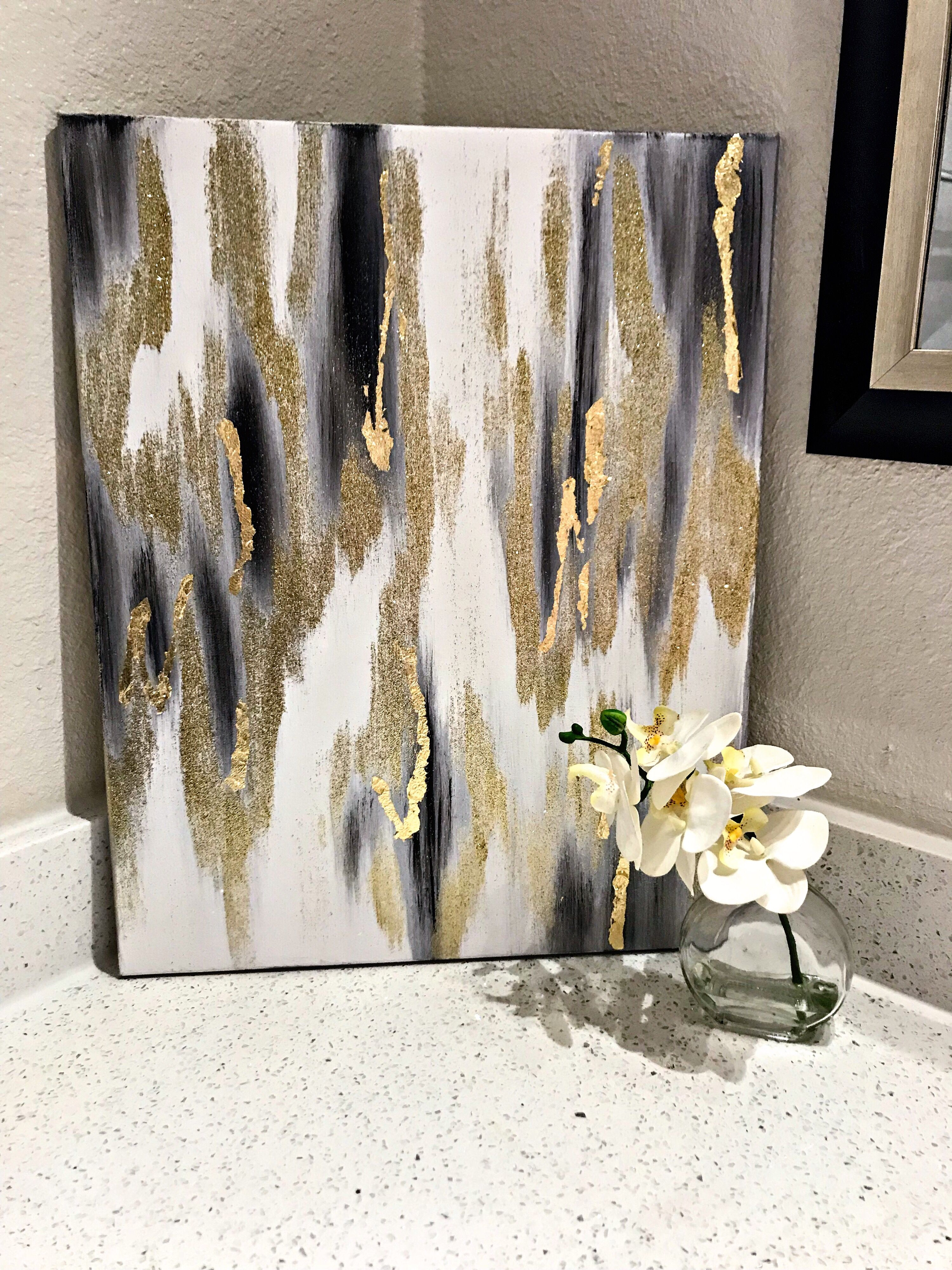 Abstract Black Gold And Silver Gold Abstract Painting Abstract Diy Canvas Art