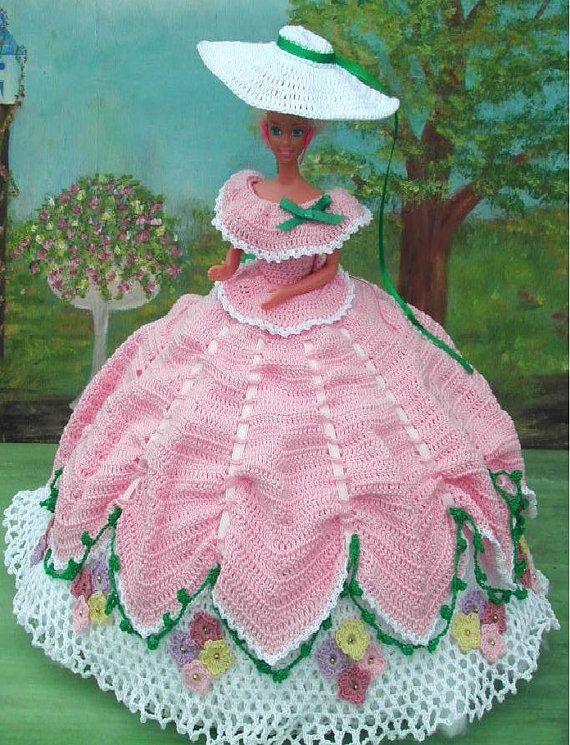 Crochet Fashion Doll Barbie Pattern- #55 GARDEN PARTY in PINK ...