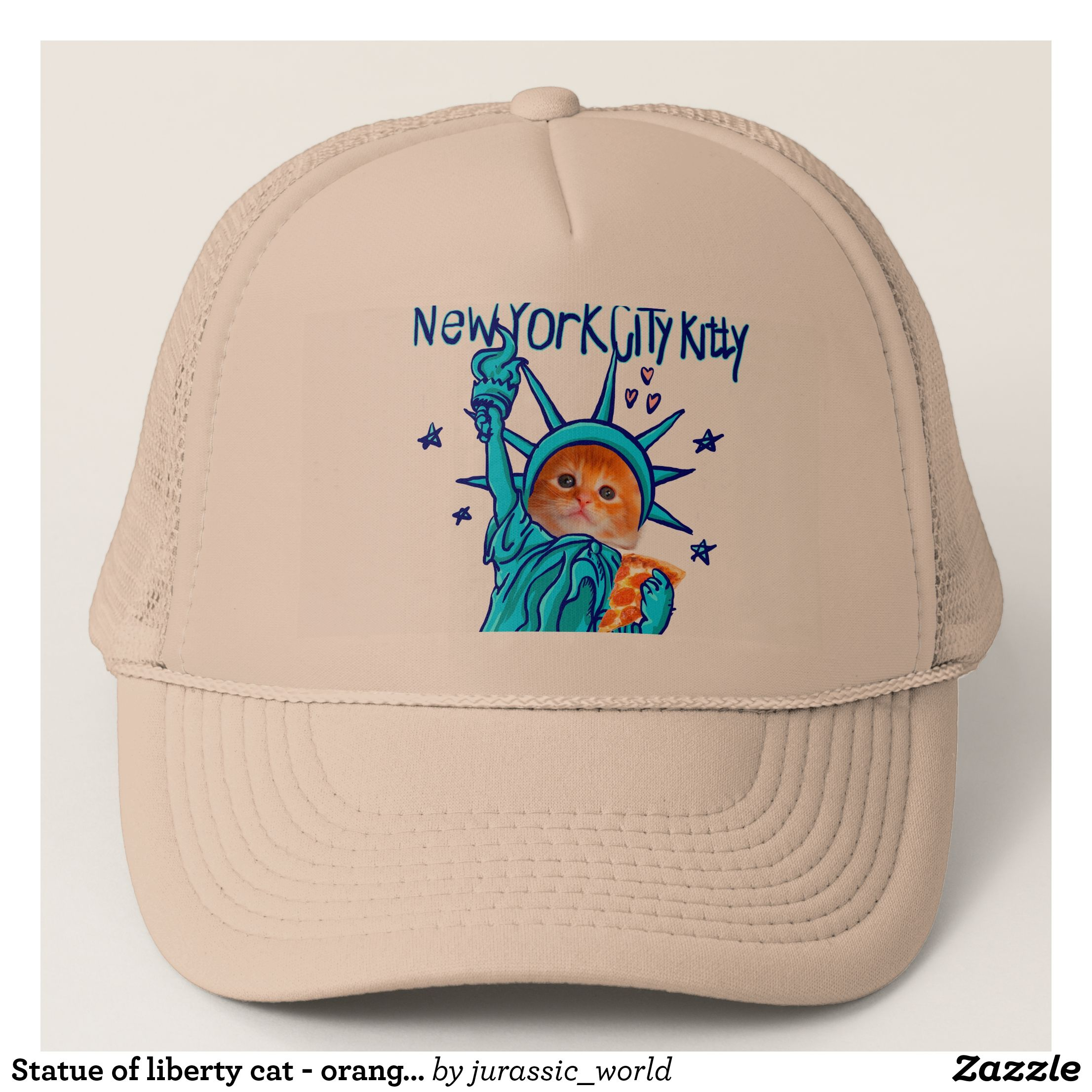 Statue of liberty cat orange cat pizza cat trucker hat