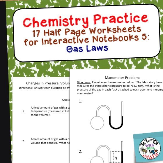 chemistry worksheets 5 for interactive notebooks gas laws science for secondary grades. Black Bedroom Furniture Sets. Home Design Ideas