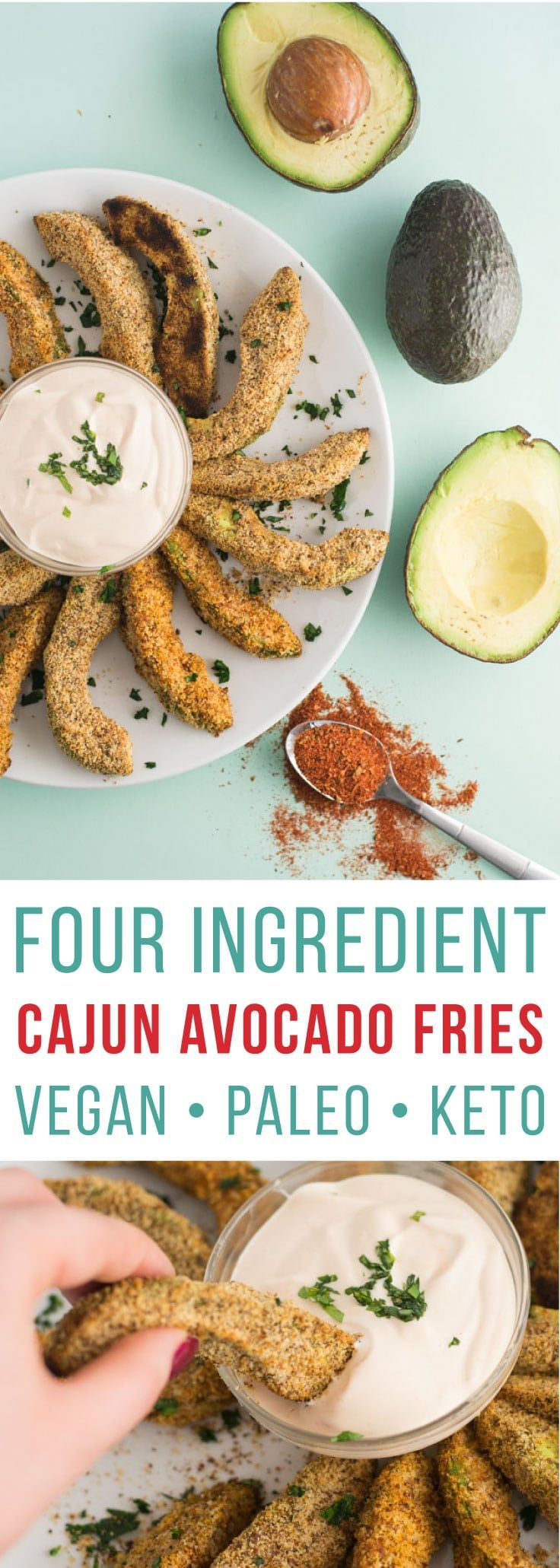 Fries -- These avocado fries only require four ingredients and can be baked to perfection in 15 minutes! Almond milk, almond meal, cajun seasoning, and avocados make this snack recipe totally vegan, paleo, gluten-free and keto! | mindfulavocado