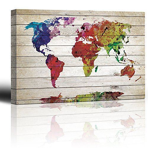 Wall26 watercolor fine art world map rustic wood pan http world map watercolor rustic wood panel painting fine art canvas home decor gumiabroncs Images