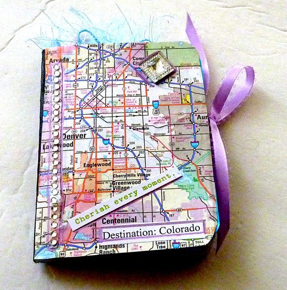 Colorado map travel journal handmade mixed media art collage smash     Colorado map travel journal handmade mixed media art collage smash book travel  planner bling