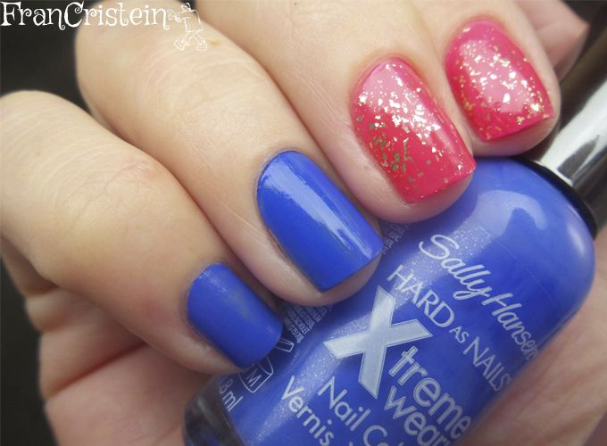 sally hansen pacific blue + claudia another pink + nyx gold glitter 3