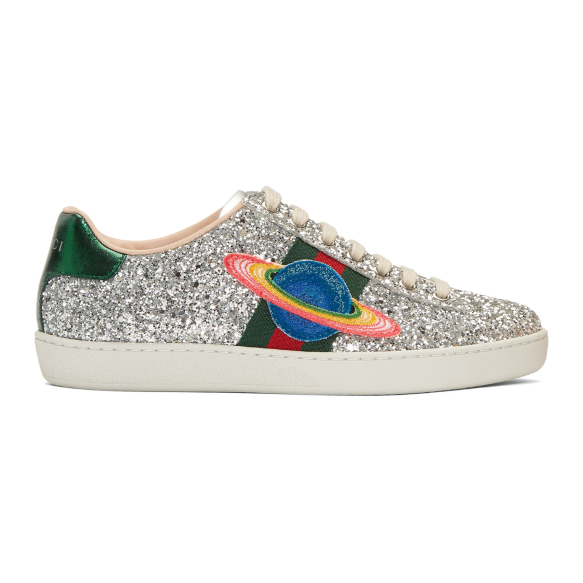 d9f7eedcede Gucci - Silver Glitter Planet New Ace Sneakers