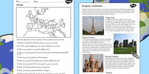 europe comprehension landmarks worksheets geography continent teacher stuff pinterest. Black Bedroom Furniture Sets. Home Design Ideas