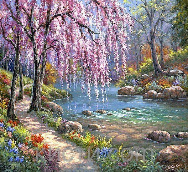 Купить Картина раскраска по номерам Красивые деревья в ...