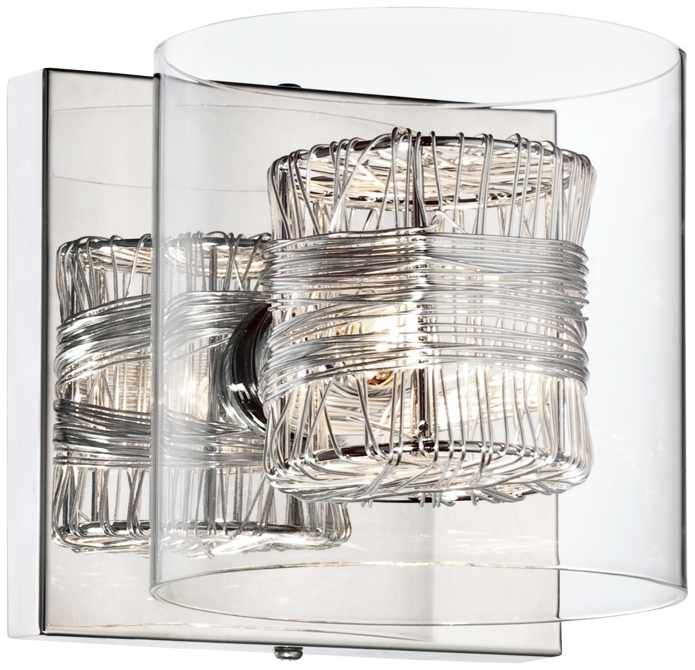 """Possini Euro Wrapped Wire 5"""" High Chrome Wall Sconce"""
