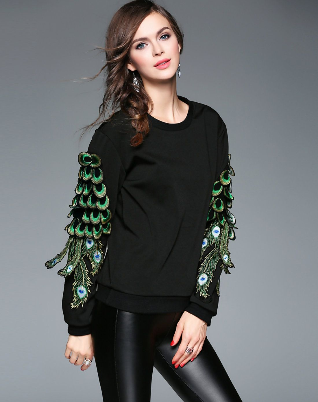 Black Crew Neck Long Sleeve Sweatshirt  AdoreWecom  Designer