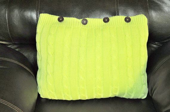 RYLO lime green cable knit throw pillow with brown buttons RYLOwear, $22.00