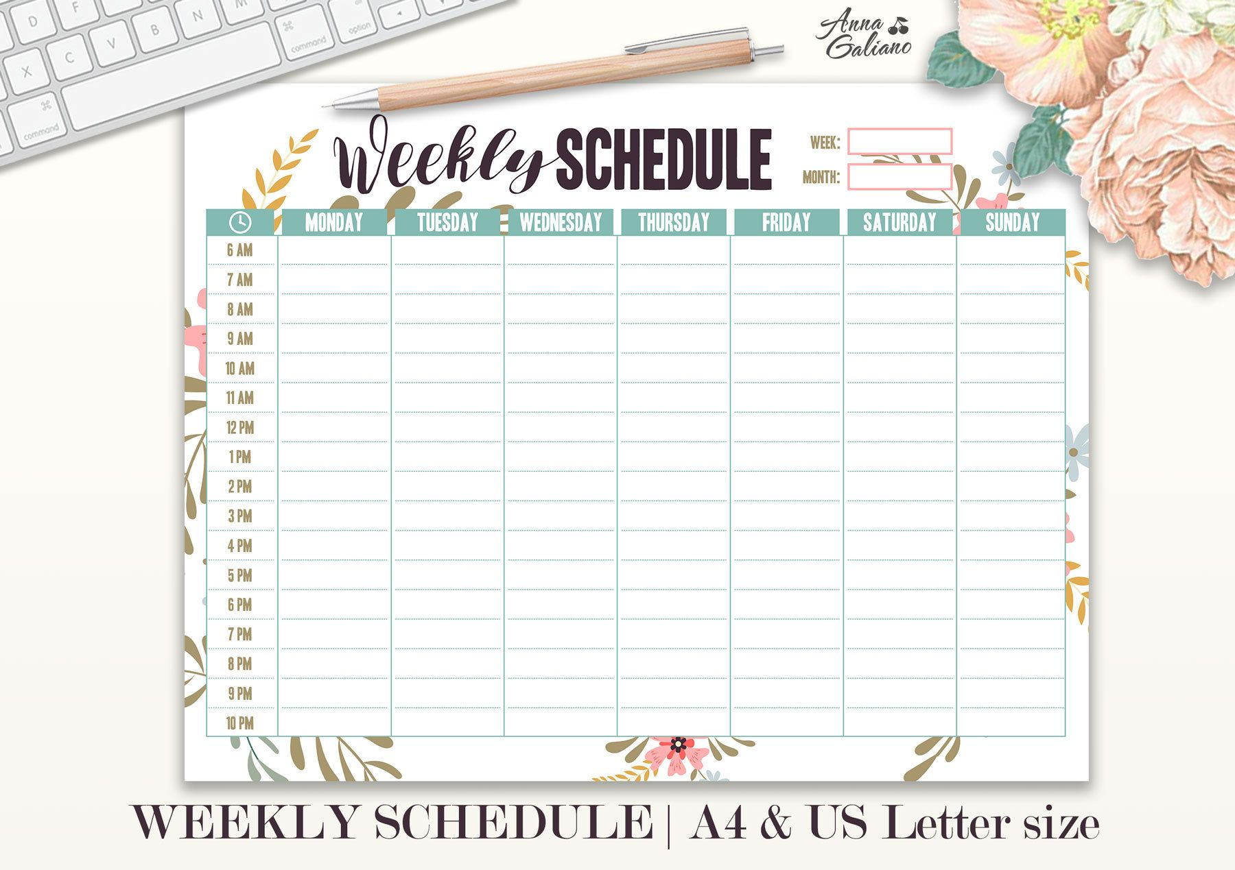 graphic about Weekly Hourly Planner Pdf referred to as Weekly Routine Printable, Hourly Planner, Weekly Organizer