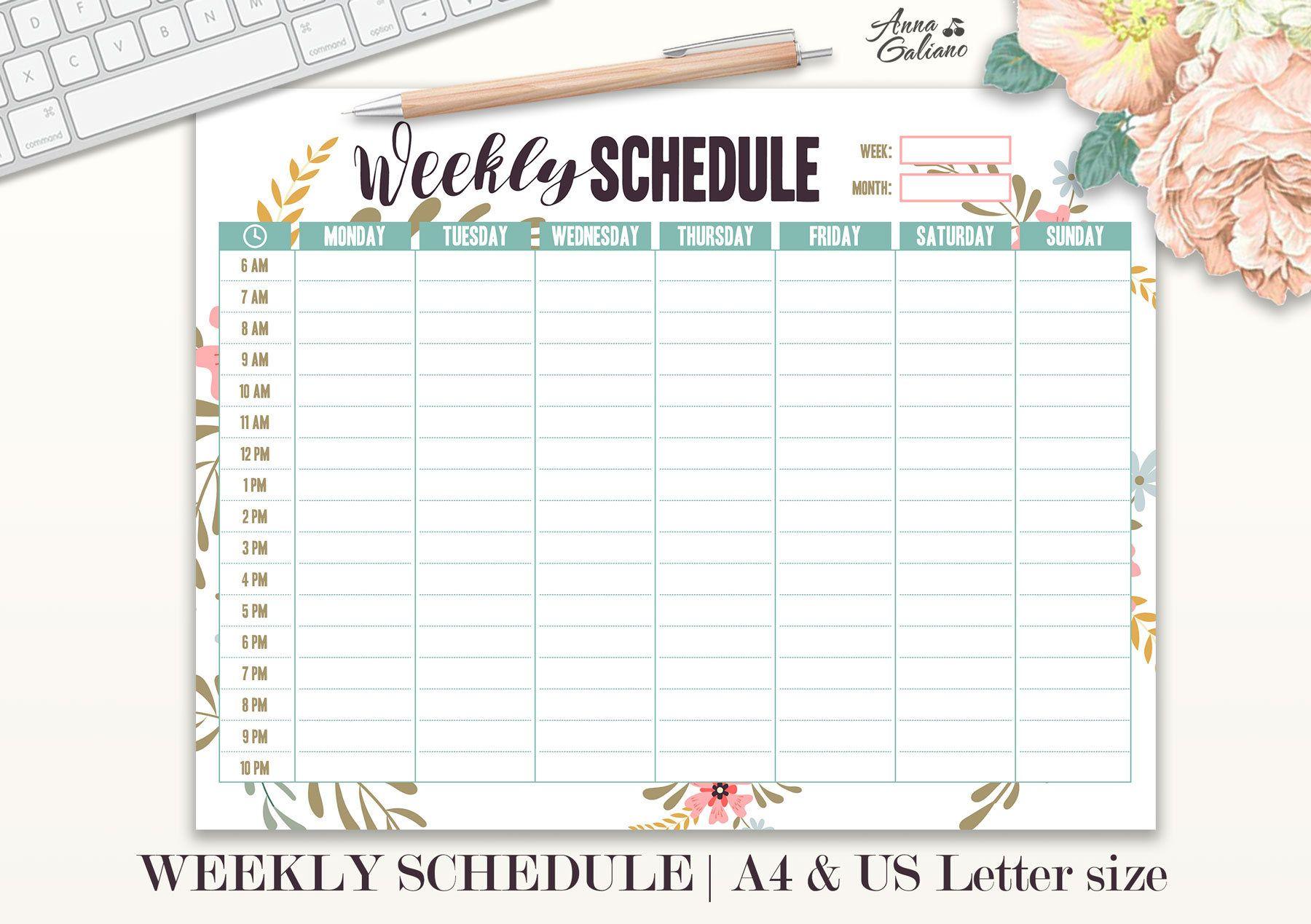 Weekly Schedule Printable Hourly Planner Weekly
