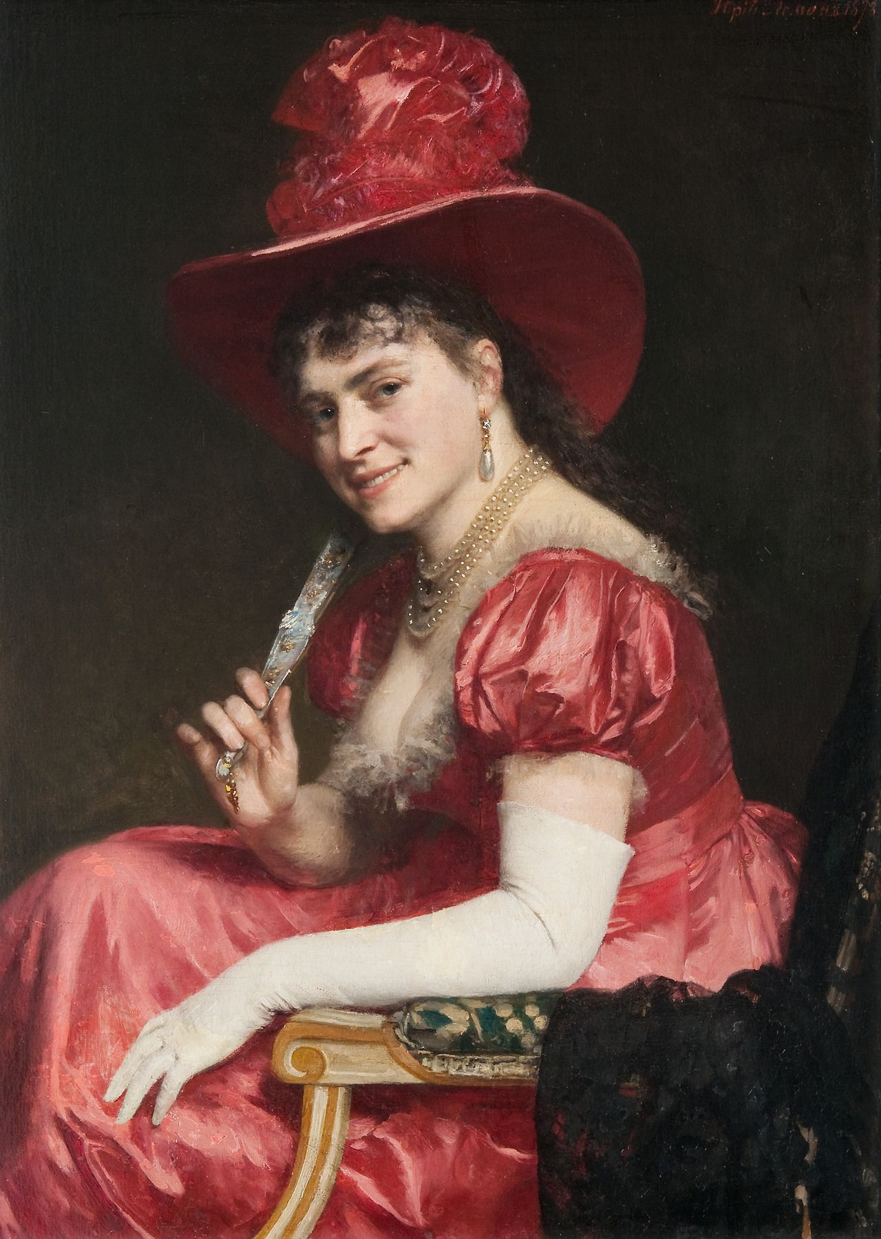 Yuri Leman (1834 - 1901) - A woman in a red dress, 1878