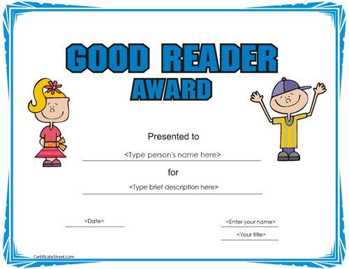 Education Certificate Good Reader Award Certificate