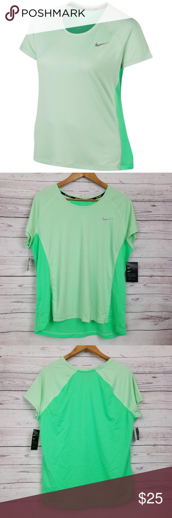 4aa4ba15890ed NWT Nike Miler Shirt Top Plus 1X Green Dri Fit Nike Womens Miler Shirt Top  Size - 1X Color - Green (Fresh Mint/Electro Green) Short sleeve Dri fit  Moisture ...