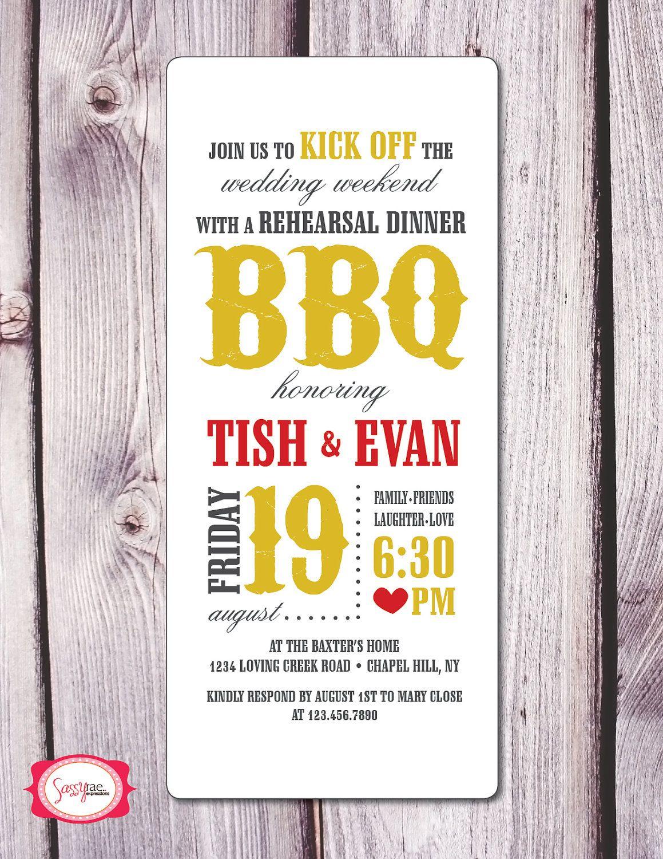 BBQ Rehearsal Dinner Invitation | {Bar-ba-cutie} | Pinterest ...