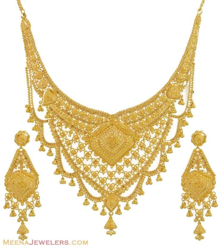 Indian Gold Jewellery Necklace Designs With Price: Gold Necklace And Earrings Set (22kt Indian Jewelry) With