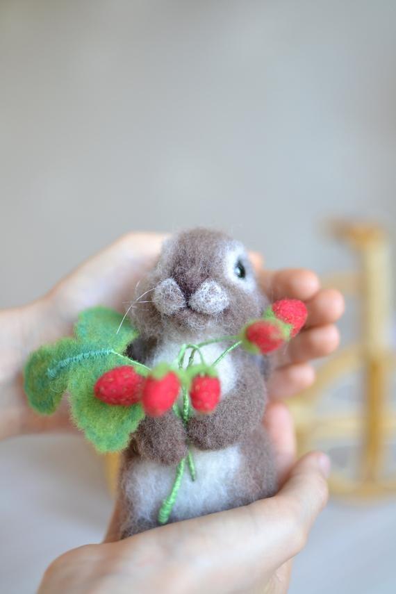 Needle felted toy rabbit with a sprig of strawberries, wool felt sculpture, realistic animal doll, felting animal, Easter decor #needlefeltedanimals