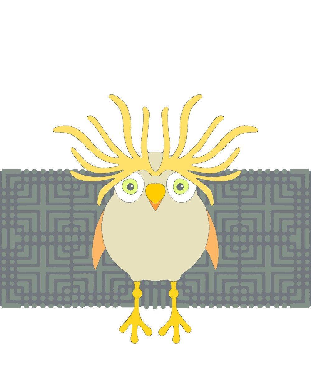 Wall art print, bird illustration, modern animal drawing, room ...