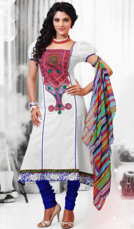 Off White and Blue Cotton Churidar Dress Price: Usa Dollar $125, British UK Pound £74, Euro92, Canada CA$136 , Indian Rs6750.