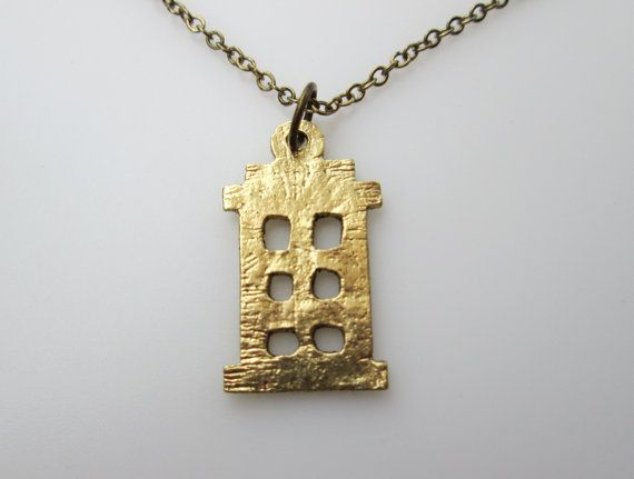Doctor Who Tardis Necklace Antique Gold Version