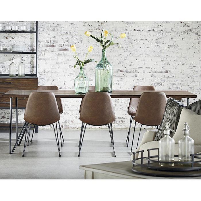 boho 7 piece dining set with saddle cushion in wheat dining table hairpin dining table on boho chic dining room kitchen dining tables id=77289