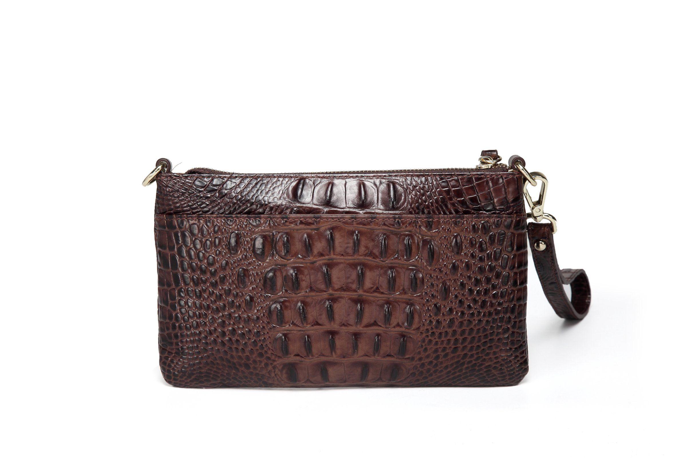 27ef97523500d Daci Croc Leather Crossbody/Clutch - Brown | Products | Crossbody ...