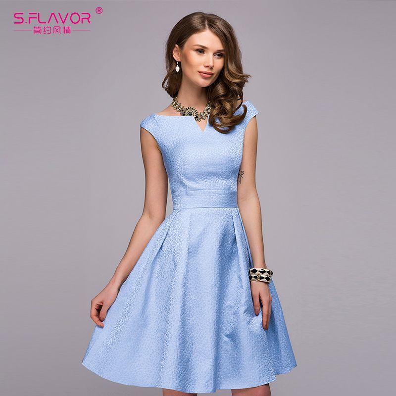 Cheap S. SAPORE Donne elegante abito A line 2018 moda Primavera Estate  senza maniche Con d917258d65d