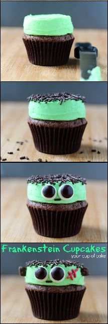 Easy Frankenstein Cupcakes for Halloween                                                                                                                                                                                 More #halloweencupcakes
